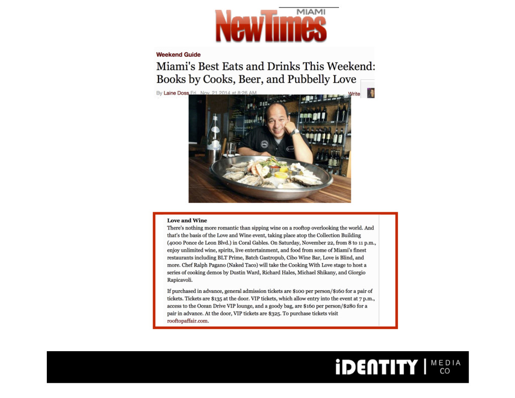 November 2014 Miami New Times- Love & Wine