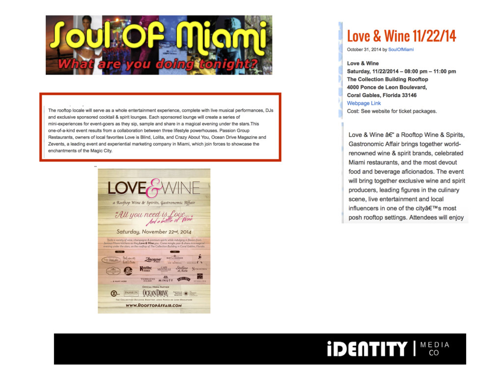 October 2014 Soul of Miami- Love & Wine
